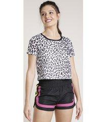 blusa feminina triya estampada animal print com respiro manga curta branco