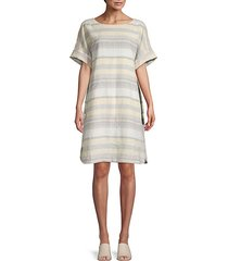 lydia oversized striped linen shift dress