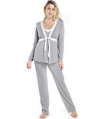 pijama gestante triplex mescla com cetim off white - kanui