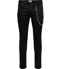 skinny jeans onswarp black overdyed chain