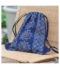 batik cotton drawstring backpack, 'swirling suns' (thailand)