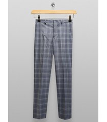 mens selected homme light blue check pants
