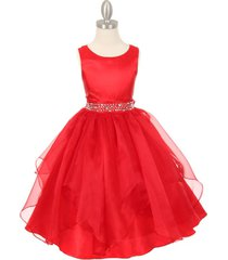 red sleeveless taffeta flower girl dresses birthday bridesmaid wedding pageant