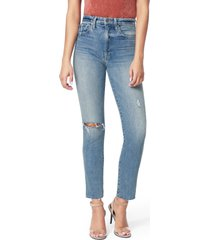 women's joe's the luna ripped high waist ankle cigarette jeans, size 24 - blue