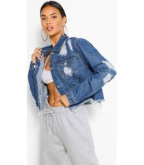 cropped distressed jean jacket, mid blue