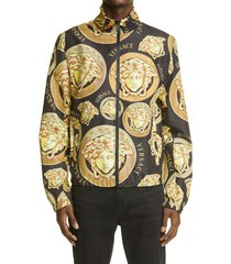 men's versace medusa head logo track jacket, size 40 us - black