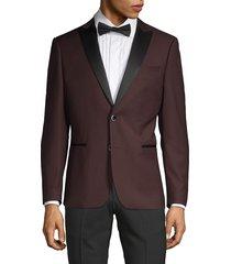 nhp men's extra slim fit peak lapel tuxedo jacket - burgundy - size 40 r