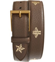 men's big & tall gucci bee & star print leather belt, size 115 eu - metallic gold