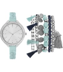 jessica carlyle women's mint braided faux leather strap watch 40mm gift set