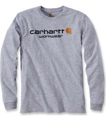 carhartt t-shirt men maddock core logo t-shirt l/s heather grey-l