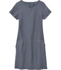linnen jurk, rookblauw 46