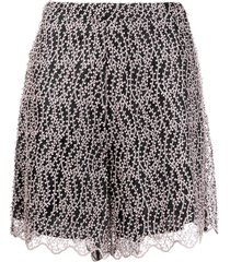 be blumarine embroidered high-waisted shorts - pink