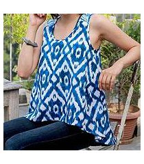 cotton tank top, 'abstract blues' (india)
