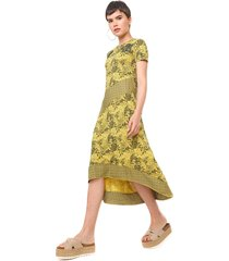 vestido desigual midi duna amarelo/preto - kanui
