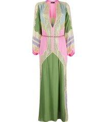 amen lace-panel maxi dress - pink