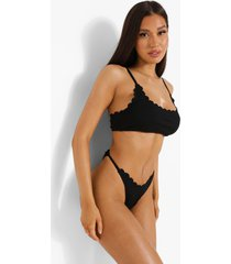 zwarte korte bikini top met geribbelde zoom, black