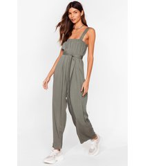 womens jump to it belted wide-leg jumpsuit - khaki