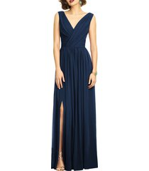dessy collection surplice ruched chiffon gown, size 24 in midnight at nordstrom
