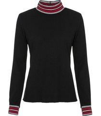 maglia a maniche lunghe con bordi a contrasto (nero) - rainbow
