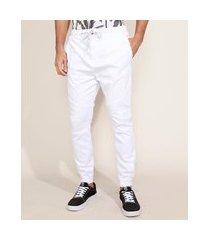 calça de sarja masculina jogger com cordão branca