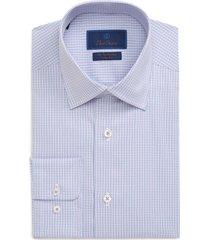 men's big & tall david donahue performance trim fit check dress shirt, size 18.5 - 34/35 - pink