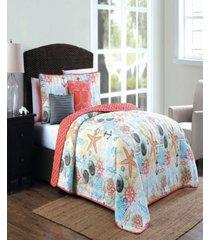 belize coastal print 4pc twin reversible quilt set