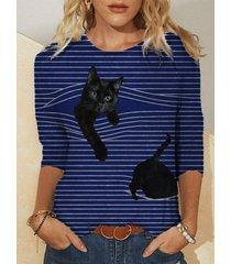 camicetta a maniche lunghe patchwork stampa gatto a righe plus
