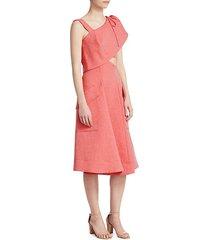 asymmetric chambray fit-&-flare dress