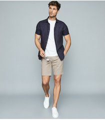 reiss wicket - casual chino shorts in mushroom, mens, size 38