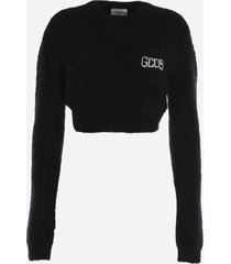 gcds black cropped pullover in wool blend