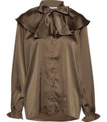 feature collar pussy-bow blouse blus långärmad brun designers, remix