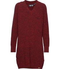 marissa vee knit dress klänning röd superdry