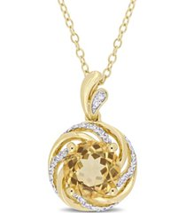 "citrine (1-4/5 ct. t.w.), white topaz (1/7 ct. t.w.) and diamond accent swirl 18"" necklace in 18k yellow gold over sterling silver"
