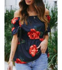 yoins camiseta de cintura elástica con estampado floral azul marino y hombros descubiertos