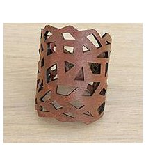 leather wristband bracelet, 'brazilian geometry in nutmeg' (brazil)