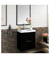 gabinete suspenso para banheiro bosi pietra cuba e espelheira preto