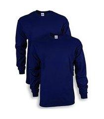 camiseta manga longa algodão camisa comprida uniforme lisa marinho