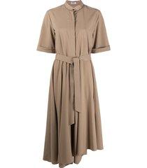 brunello cucinelli tie-waist shirt dress - neutrals