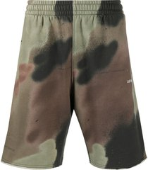 "off-white ""camouflage"" printed track shorts - green"