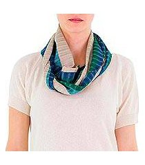 cotton infinity scarf, 'verdant comalapa breeze' (guatemala)