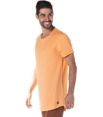 camiseta masculina alongada laranja neon - area verde - multicolorido - masculino - dafiti