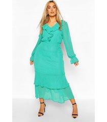 plus dobby mesh ruffle midi dress, green