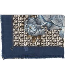 salvatore ferragamo blue wool patchwork print shawl