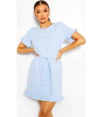 crêpe jurk met mouw franjes en ceintuur, pastelblauw