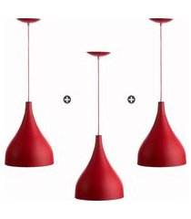 kit 3 lustres pd gota media alumínio 30cm vermelho