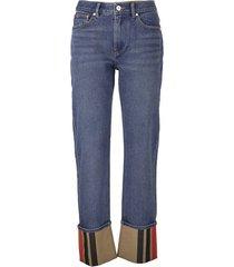 straight fit striped cuff jeans marissa
