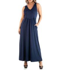 24seven comfort apparel women's plus size maxi sleeveless dress