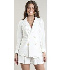 blazer feminino longo transpassado com bolsos off white