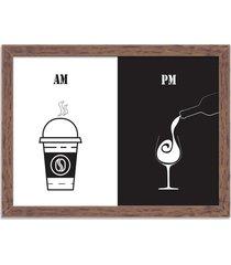 quadro decorativo am café pm vinho madeira - médio