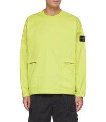 zipped pocket cotton twill sweatshirt